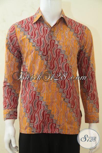 Batik Hem Parang Dual Warna, Kemeja Batik Lengan Panjang Spesial Untuk Pria Muda Tampil Gagah Berkarakter, Proses Cap Tulis Size S