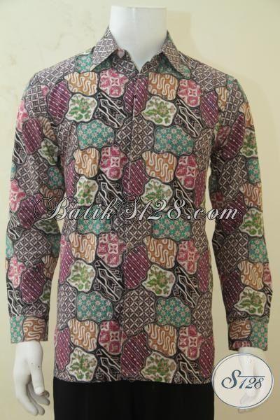 Kemeja Batik Modern Desain Terkini Yang Fashionable, Batik Jawa Masa Kini Lengan Panjang Cocok Untuk Acara Formal Dan Pesta, Size M