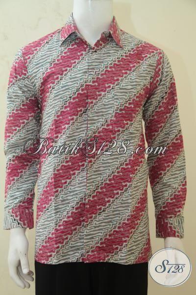 Baju Batik Halus Motif Parang Kombinasi Warna Dan Merah, Kemeja Batik Lengan Panjang Proses Cap Tulis Pas Banget Buat Seragam Kantor, Size M