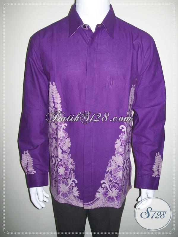 Kemeja Batik Ungu Lengan Panjang Muslim Pria, Sederhana Elegan [LP428BT-XL]