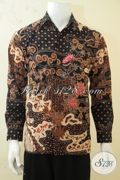 Kemeja Pria Kwalitas Mewah, Pakaian Batik Premium Lengan Panjang Proses Tulis Tangan Pengerajin Solo, Batik  Kerja Full Furing Tampil Gagah Bak Pejabat, Size M