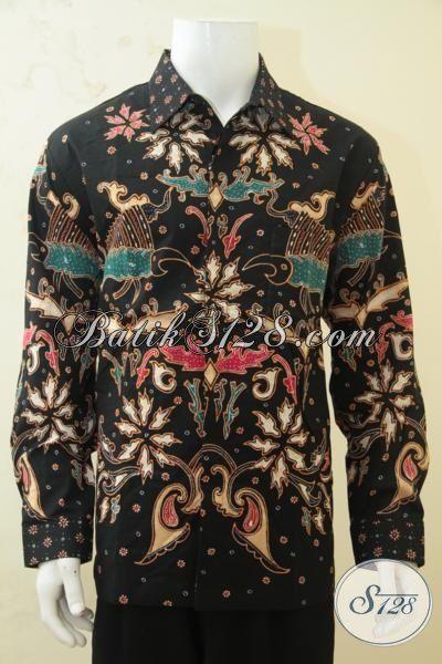 Hem Batik Pria Kwalitas Mewah, Baju Batik Mahal Proses Tulis Tangan Daleman Full Furing, Baju Batik Lengan Panjang Motif Unik Tampil Gagah Bak Pejabat, Size XL