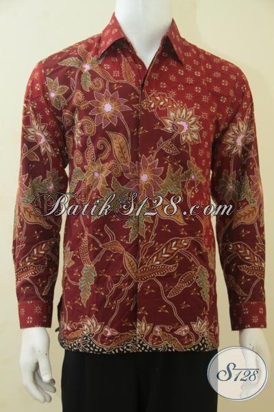 Jual Kemeja Batik Warna Merah Lengan Panjang Premium, Baju Batik Tulis Masa Kini Motif Klasik Elegan Pas Untuk Acara Formal, Size M