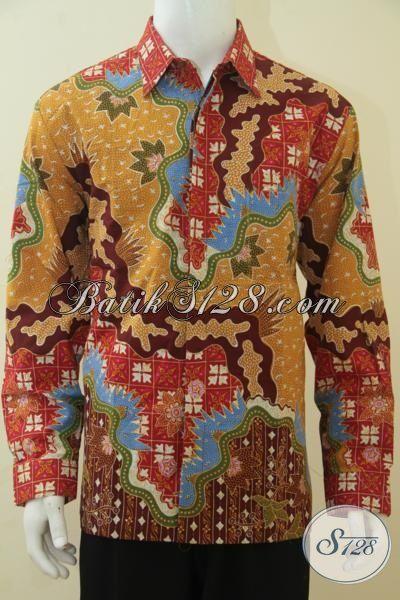Jual Online Kemeja Batik Lengan Panjang Istimewa, Baju Batik Premium Motif Unik Dan Mewah Daleman Full Furing Khas Pejabat, Size XL