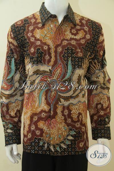 Toko Busana Batik Jawa Premium Di Solo, Jual Hem Batik Lengan Panjang Full Furing Kwalitas Bagus Banget Motif Elegan Dilengkapi Daleman Full Furing Berkelas, Size XL