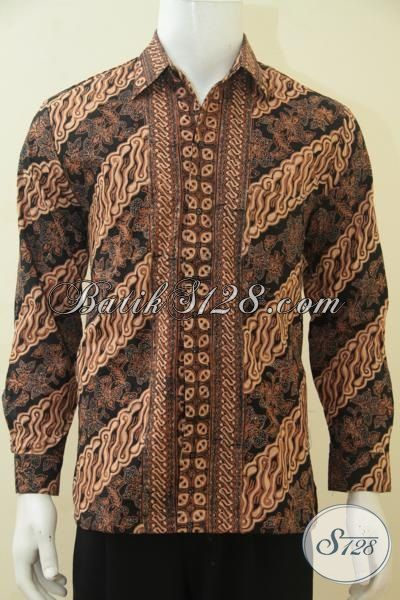 Hem Batik Klasik Lengan Panjang Full Furing Halus, Pakaian Batik Etnik Warna Coklat Proses Cap Tulis Asli Buatan Solo, Size M