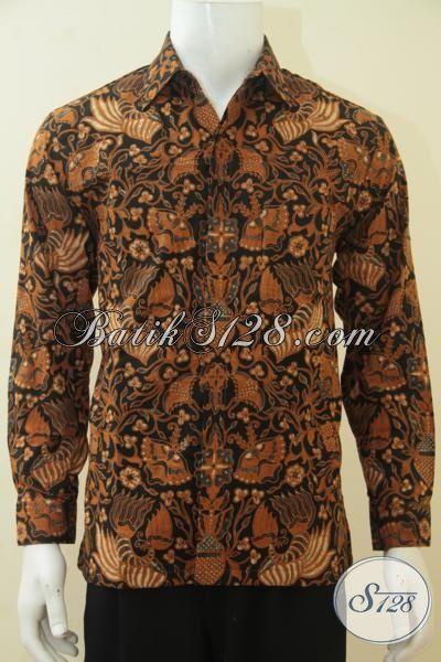 Kemeja Batik Kombinasi Tulis Full Furing Mewah Kwalitas Premium, Seragam Kerja Batik Klasik Lengan Panjang Istimewa Untuk Tampil Rapi Dan Modis, Size XL