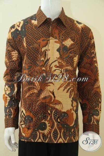 Baju Kerja Dan Kondangan Pria Dewasa, Hem Batik Size XL Kwalitas Halus Kombinasi Tulis, Baju Formal Full Furing Tampil Mewah Berkelas