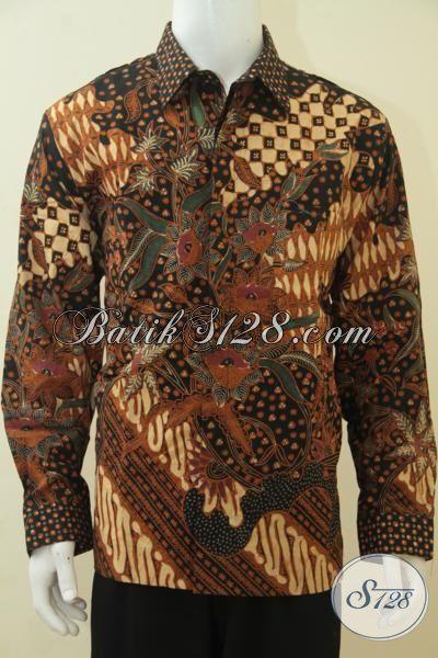 Hem Baju Kerja Batik Klasik Motif Mewah, Pakaian Batik Jawa Etnik Lengan Panjang Full Furing Seperti Jas Untuk Tampil Lebih Gagah, Size XL