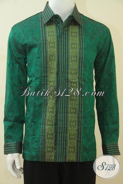 Pakaian Tenun Mewah Warna Hijau, Busana Lengan Panjang Full Furing Cocok Banget Untuk Para Elit Partai  [LP4424NF-L]