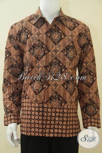Kemeja Batik Lengan Panjang Cap Tulis Motif Klasik, Pakaian Batik Full Furing Istimewa Warna Coklat Tampil Elegan Dan Berkarakter, Size L
