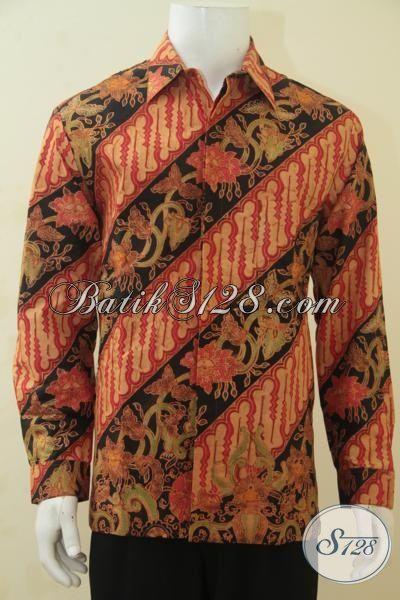 Busana Batik Parang Bunga Mewah Kombinasi Tulis, Pakaian Batik Lengan Panjang Klasik Desain Istimewa Ukuran L Lebih Mewah Dengan Daleman Full Furing  [LP4430BTF-L]