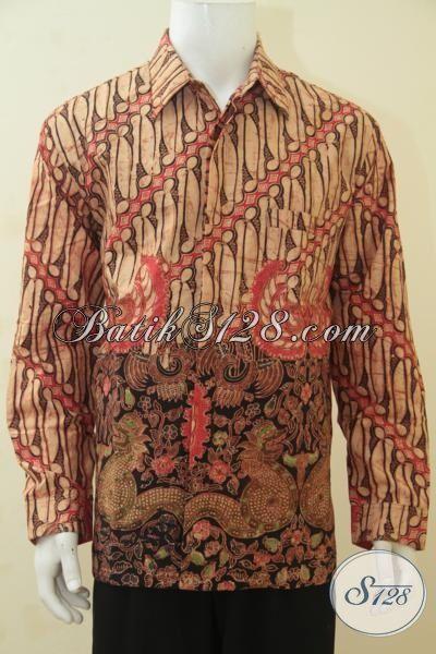 Baju Batik Premium Kombinasi Tulis, Pakaian Batik Lengan Panjang Klasik Daleman Full Furing Membuat Cowok Makin Keren Dan Tampan, Size XL