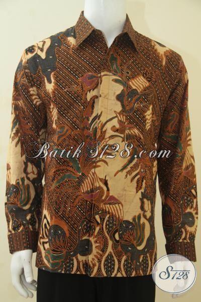 Hem Batik Klasik Daleman Full Furing Lengan Panjang, Baju Batik Solo Kombinasi Tulis Seragam Kerja Dan Kondangan, Size L