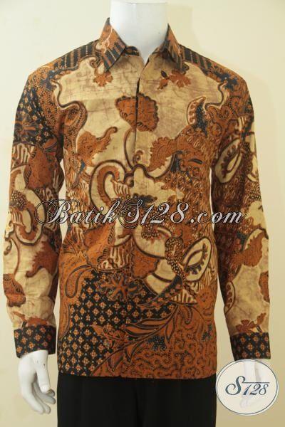 Jual Kemeja Batik Lengan Panjang Premium Kombinasi Tulis, Baju Kerja Istimewa Untuk Pria Dewasa, Hem Batik Halus Full Furing Untuk Tampil Lebih Trendy, Size L