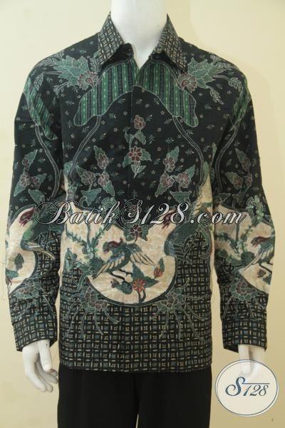 Hem Batik Premium Lengan Panjang Jumbo, Baju Batik Mewah Khas Pejabat Dengan Bahan Halus Tulis Tangan Delaman Full Furing Harga Mahal, Size XXL