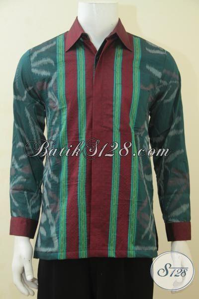 Baju Tenun Hijau Kombinasi Merah Motif Keren, Pakaian Kerja Berbahan Halus Dilengkap Full Furing Makin Nyaman Di Pakai, Size M