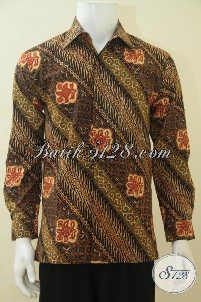 Kemeja Batik Lengan Panjang Full Furing Mewah, Baju Batik Halus Proses Cap Tulis Motif Parang Bunga Elegan, Size M