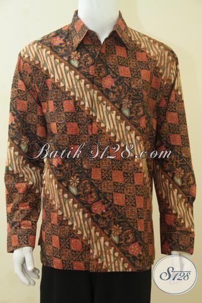 Baju Kemeja Batik Motif Parang Terbaru, Hem Batik Klasik Proses Cap Tulis Model Lengan Panjang Full Furing Tampil Gagah Dan Berwibawa, Size XL