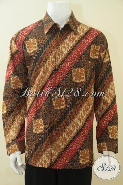 Busana Batik Halus Motif Parang Bunga Model Lengan Panjang Pake Furing, Baju Batik Elegan Proses Cap Tulis Size XXL Spesial Buat Pria Gemuk