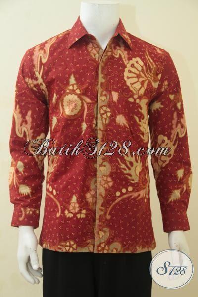Jual Hem Batik Mewah Warna Merah, Busana Batik Pria Muda Tampil Gagah, Batik Solo Motif Keren Full Furing Di Jual Online [LP4464TF-M]