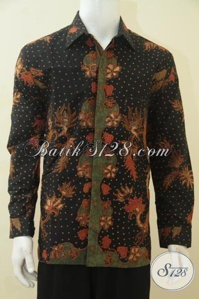 Kemeja Batik Premium Dasar Hitam Kwalitas Mewah, Baju Batik Kerja Para Pejabat Dan Executive Daleman Full Furing Proses Tulis Tangan Asli [LP4465TF-L]