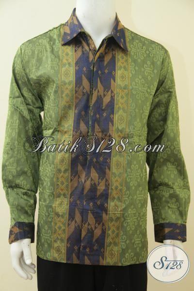 Baju Hem Batik Lengan Panjang Full Furing Berbahan Tenun Halus, Baju Kerja Formal Tampil Gagah Bak Pejabat, Size XL