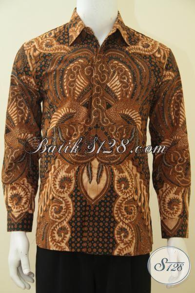 Hem Batik Klasik Lengan Panjang Kombinasi Tulis, Pakaian Batik Seragam Kerja Full Furing Sangat Cocok Untuk Rapat [LP4543BTF-L]