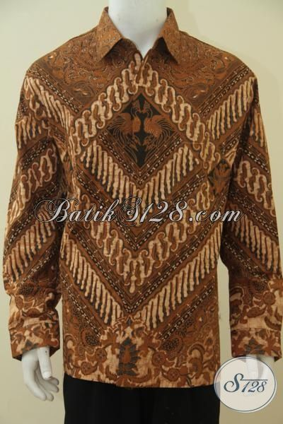 Baju Kemeja Batik Klasik Buatan Solo, Busana Batik 3L Lengan Panjang Pake Furing Motif Berkelas Kombinasi Tulis Spesial Buat Pria Gemuk, Size XXL