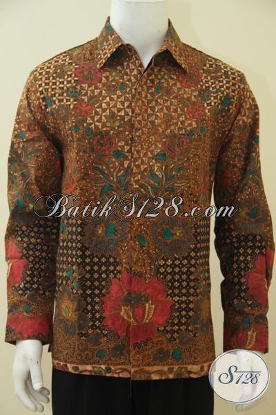 Baju Kerja Formal Motif Mewah Proses Kombinasi Tulis, Busana Batik Lengan Panjang Full Furing Sempurnakan Penampilan Pria Karir, Size L