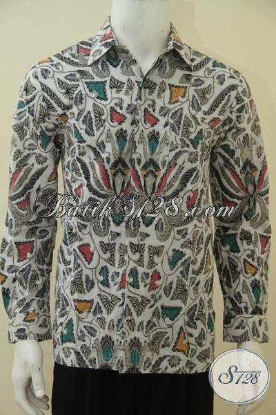 Hem Batik Klasik Lengan Panjang Tanpa Furing, Baju Batik Motif Pisang Bali Kwalitas Bagus Harga Terjangkau, Size M