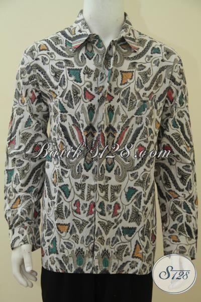 Baju Batik Pria Dewasa Motif Pisang Bali Hem Batik Kombinasi Tulis