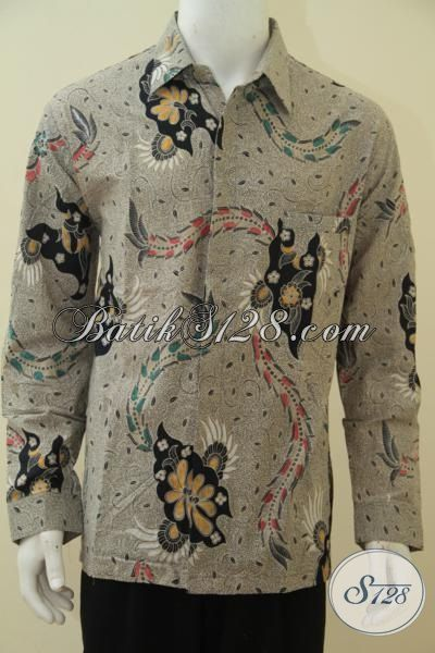 Baju Batik Jawa Tengah Elegan Berkelas, Seragam Kerja Batik Lelaki Dewasa Proses Cap Tulis Tampil Modis Dan Macho, Size XL
