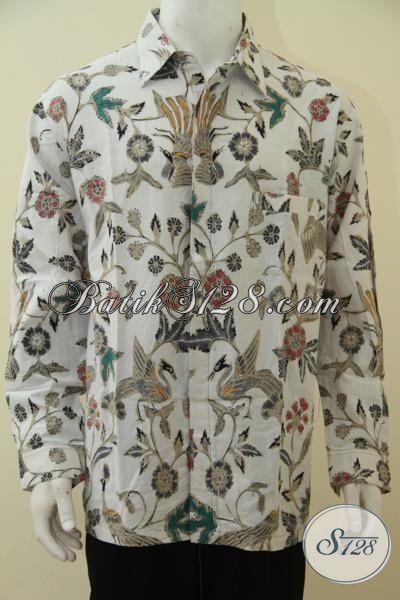 Jual Online Kemeja Batik Jawa Trendy Model Lengan Panjang, Hem Batik Cap Tulis Spesial Untuk Pria Gemuk, Baju Batik XXL Motif Keren Dan Fashionable