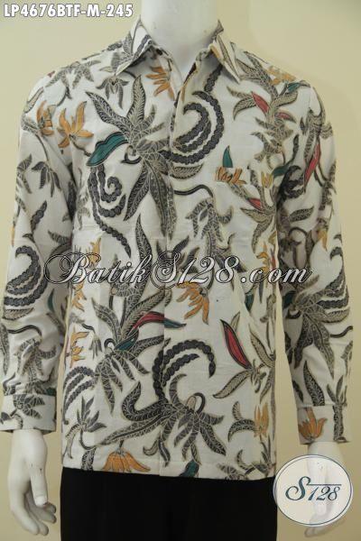 Baju Batik Kerja Dan Santai model Lengan Panjang, Busana Batik Kombinasi Tulis Buatan Solo Daleman Full Furing Tampil Lebih Mewah Dan gagah, Size M