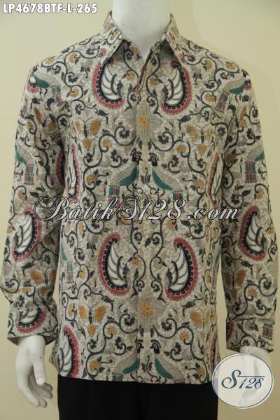 Sedia Kemeja Batik Klasik Elegan Kwalitas Halus, Baju Batik Lengan Panjang Full Furing Kombinasi Tulis, Pilihan Tepat Untuk Ganteng Sempurna, Size L