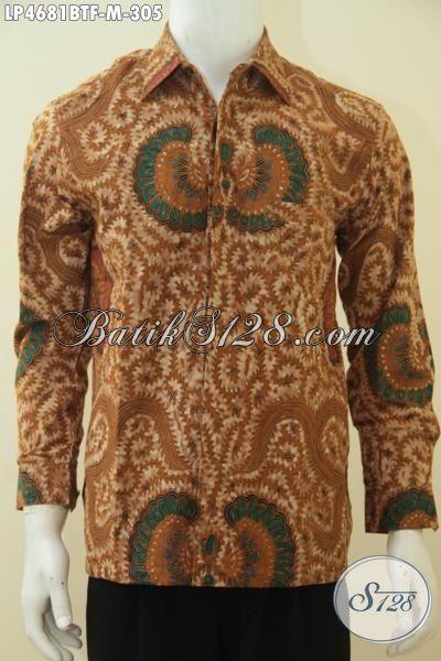 Sedia Pakaian Batik Lengan Panjang Kombinasi Tulis, Baju Kerja Batik Motif Klasik Daleman Full Furing Nyaman Di Pakai Dan Lebih Percaya Diri, Size M
