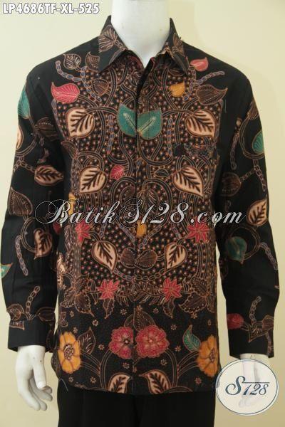 Hem Batik Premium Lengan Panjang, Baju Batik Tulis Motif Modern Daleman Full Furing Kwalitas Istimewa Tampil Gagah Bak Pejabat, Size XL