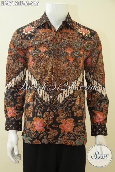 Baju Batik Premium Kombinasi Dua Motif Klasik Lengan Panjang, Jual Online Pakaian Batik Tulis Premium Full Furing Langganan Pejabat Dan Executive, Size M