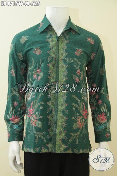 Hem Batik Mewah Warna Hijau Dengan Motif Bagus Sekali, Baju Kerja Elegan Porses Tulis Model Lengan Panjang Daleman Full Furing Kesukaan Para Eksekutif, Size M
