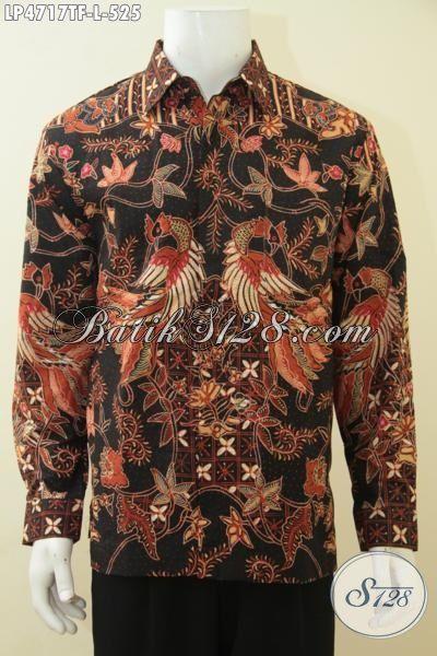 Kemeja Batik Premium Full Furing Proses Tulis Tangan Asli, Baju Batik Mewah Lengan Panjang Istimewa Bikin Pria Tampil Gagah Bak Pejabat, Size L