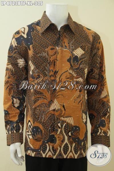 Baju Kerja Batik Motif Klasik, Busana Batik Lengan Panjang Halus Desain Formal, Pakaian Batik Kombinasi Tulis Daleman Full Furing Mewah Seperti Jas [LP4723BTF-XL]