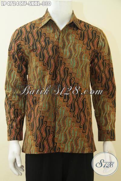 Baju Batik Cap Tulis Lengan Panjang Size XXL, Baju Batik Elegan Full Furing Motif Mewah Kwalitas Premium Dengan Harga Yang Terjangkau, Spesial Buat Pria Gemuk