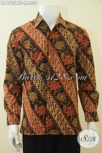 Tempat Update Fashion Batik Terlengkap, Sedia Kemeja Batik Lengan Panjang Full Furing Nan Elegan Motif Parang Bunga Proses Cap Tulis, Cocok Buat Kondangan, Size M