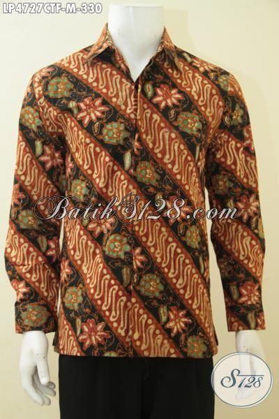 Batik Hem Halus Motif Klasik Parang Bunga, Baju Batik Elegan Proses Cap Tulis Size M Yang Membuat Pria Terlihat Makin Tampan Dan Modis, Size M