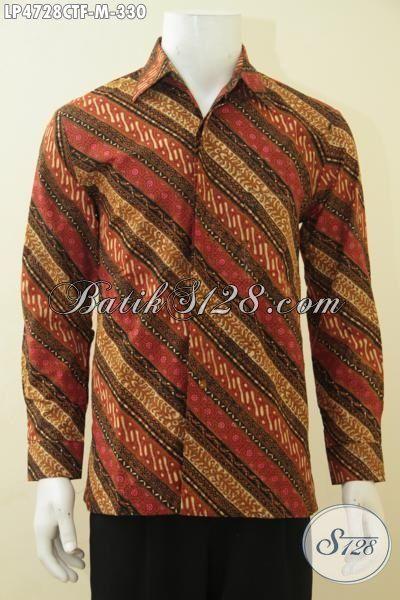 Hem Batik Parang Lengan Panjang Terkini Produk Terbaru Dari Solo, Baju Kerja Batik Yang Elegan Dan Mewah Proses Cap Tulis Daleman Full Furing [LP4728CTF-M]