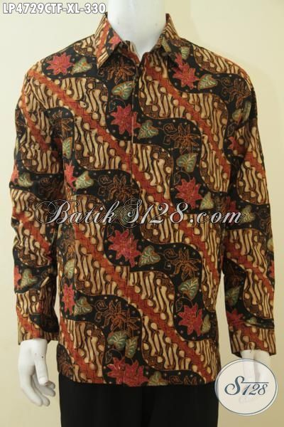 Baju Hem Batik Lengan Panjang Pake Furing Motif Keren Dan Mewah, Pakaian Batik Jawa Tengah Premium Cowok Tampil Menawan Dan Berkarakter [LP4729CTF-XL]