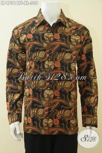 Busana Batik Kemeja Lengan Panjang Proses Cap Tulis, Baju Batik Klasik Pake Furing Trend Mode Masa Kini Kwalitas Bagus Lelaki Tampil Makin Sempurna [LP4731CTF-XL]