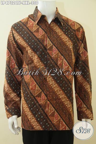Kemeja Batik 3L Lengan Panjang Pake Furing Lebih Mewah Dan Berkelas, Baju Batik Cap Tulis Halus Buat Pria Gemuk Berbahan Adem Harga Terjangkau, Size XXL