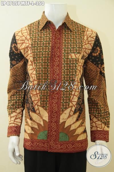 Jual Baju Batik Lengan Panjang Kombinasi Tulis Motif Klasik, Kemeja Batik Jawa Tengah Istimewa Pake Furing Lebih Mewah Dan Berkelas Dengan Harga Terjangkau, Size L